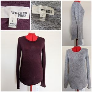 Aritzia Wilfred Free Sweater Bundle Maroon Gray Lg